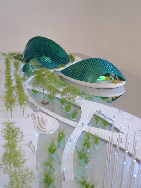 Éclairage d'une maquette d'Alpha Volumes pour XTU Architects, projet Bay Ecotarium, San Francisco